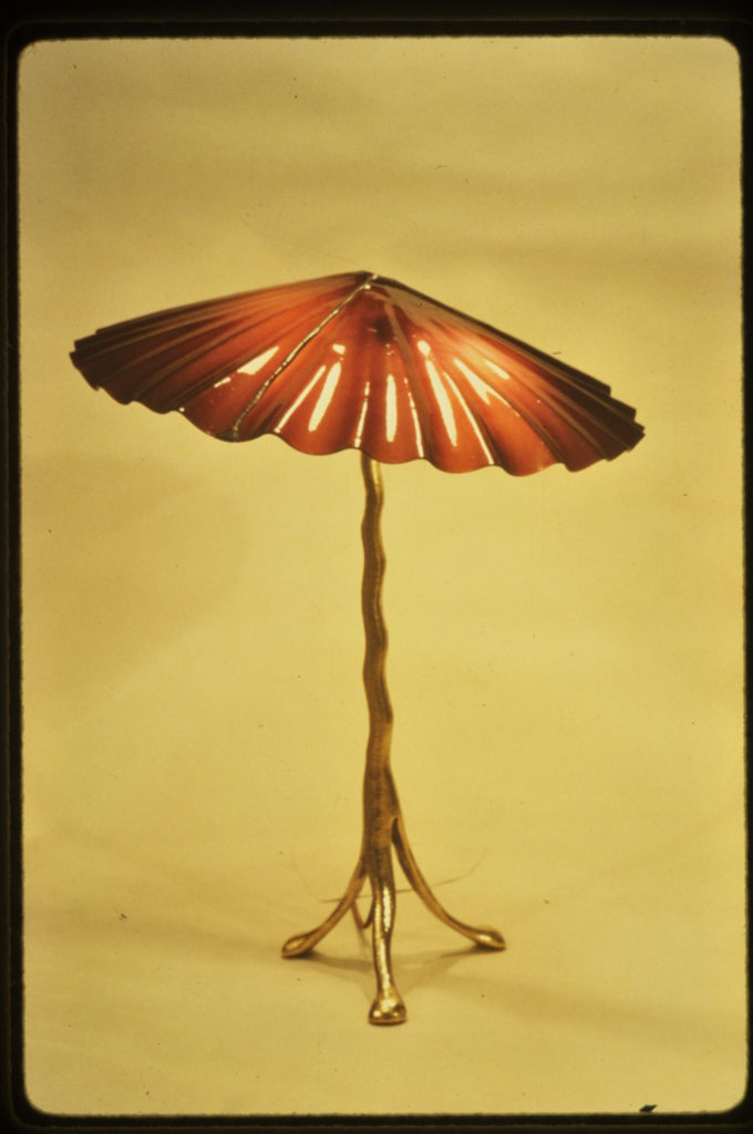 Burgandy Mushroom table lamp 1983
