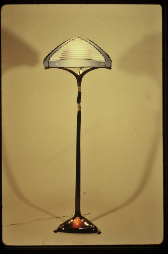 Louvered floor lamp with gray sides-1987