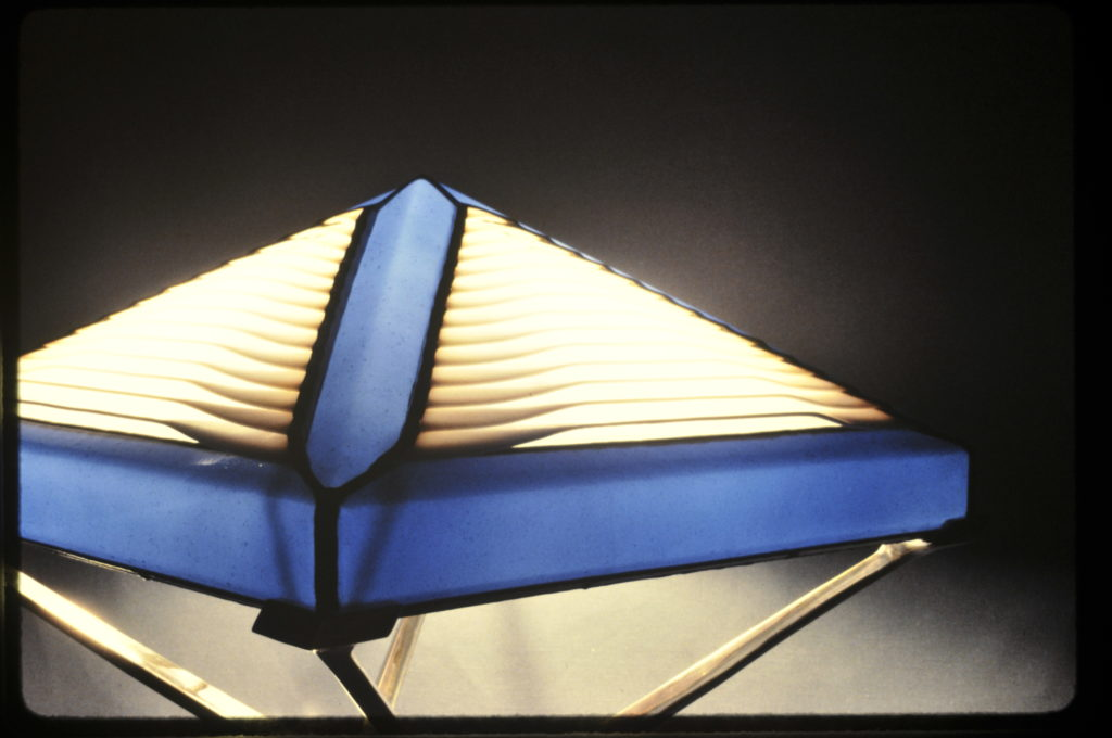 close up of one of a kind Blue pyramid Floor Lamp-1988
