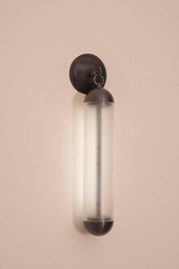 flume sconce glass bronze